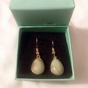 Jade Color Gold hook Earrings